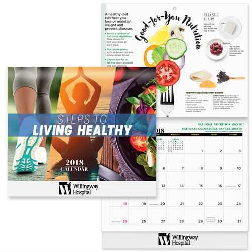 2018 Steps To Living Healthy Wall Calendar Wall Calendar, Planner, The Positive Line, Business Calendar, Office Calendar, Business Gifts, Corporate Gifts, Sales and Marketing, Sales Meetings, Giveaways, Promotional Calendars, Healthy Living, Employee Wellness