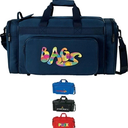 "21"" Deluxe Sport Bag 21"", Deluxe, Sport, Duffle, Promotional, Imprinted, Polyester, Travel, Custom, Personalized, Bag"