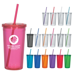 24 Oz. Double Wall Acrylic Tumbler With Straw 24 Oz. Double Wall Acrylic Tumbler With Straw, Double Wall, Acrylic, with, straw, Cup, Tumbler, Imprinted, Personalized, Promotional, with name on it, Gift Idea, Giveaway,