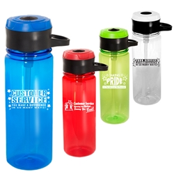 24 oz. Tritan™ Bottle with Hook with Customer Service Themes  Waterbottle, with hook, Water Bottle, Low Minimum, 24 oz, bottle, imprinted, with logo,