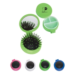 3 In 1 Kit 3 in 1 kit, mirror and hair brush, twist off lid, pill case, with, Imprinted, Personalized, Promotional, with name on it, giveaway, mirror and brush kit, brush,