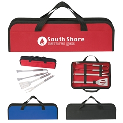 3 Piece BBQ Set In Case barbeque, 3 piece, barbecue, set, gift, kit, imprinted, with logo, name on it, with, cooking, grilling,