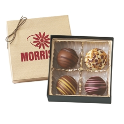 4 Piece Gourmet Truffle Gift Box holiday gifts, holiday food gifts, corporate holiday gifts, gift sets, chocolate gifts, employee appreciation, employee recognition, holiday parties
