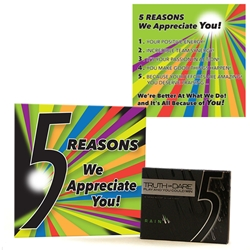 """5 Reasons We Appreciate You"" Wrigleys 5 Gum & Card Employee Appreciation Kit  Appreciation Gum Kit, Appreciation Kit, Low cost recognition, On The Spot Recognition, Appreciation Gum Kit,"