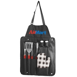 6 Piece BBQ Utensil Apron Set  barbeque, 6 piece, barbecue, apron, set, gift, kit, imprinted, with logo, name on it, with, cooking, grilling,