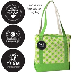 Accent Boat Tote with Appreciation Bag Tag (Lime Gingham)