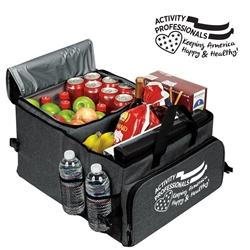 """Activity Professionals: Keeping America Happy & Healthy!"" Deluxe 40 Cans Cooler Trunk Organizer  Acitivity Professionals Theme Cooler, Activity Professionals Theme Trunk Cooler, Activity Professionals theme Cooler, Activity Professionals Appreciation Can Cooler, 40 cans cooler, Trunk Organizer and Cooler, Trunk Organizer and Cooler, Can Cooler and Trunk Organizer, Imprinted, With Logo, With Name On It"