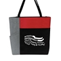 """Activity Professionals: Keeping America Happy & Healthy!"" Red Color Block Zip Tote activity professionals theme tote, Activity Professionals Week theme Tote, Imprinted"