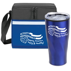 """Activity Professionals: Keeping America Happy & Healthy!"" Tumbler & Cooler Care Bundle   activity professionals theme, Lunch Bag Combo, Appreciation Gift Combo, Cooler and Bottle Combo, Care Bundle, Break Pack, Housekeeping Gift Set, Theme, promotional products, scooler set, Lunch bag, Imprinted"