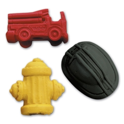 Assorted Firefighter Pencil Top Erasers fire safety promotional items, fire safety, kids fire safety, fire prevention, fire prevention week, fire truck, pencil top eraser, fire hat, fire hydrant, fire station giveaway