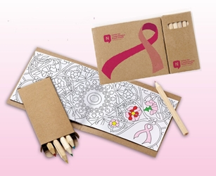 Breast Cancer Awareness Ribbon Adult Coloring Book & 6-Color Pencil Set To-Go mini adult coloring book, adult coloring book and pencil set, imprinted adult coloring book, adult coloring book with logo, adult coloring book giveaway, promotional products, employee appreciation, employee recognition, smiley face