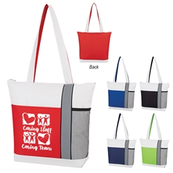 """Caring Staff, Caring Team"" Colormix Tote Bag  Colormix, Trio Colors, Tote Bag, Imprinted, Personalized, Promotional, with name on it, giveaway,"