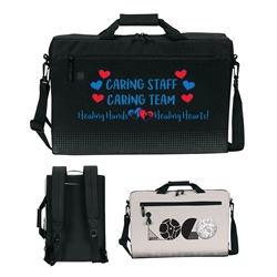 "Caring Staff, Caring Team. Healing Hands...Healing Hearts! Sound Wave 17"" Hybrid Laptop Brief & Backpack   Laptop Brief Bag, Laptop Backpack, Brief and Backpack bag, Continental Marketing, Care Promotions, Lunch Bag, Insulated, Barrel, Travel, Employee, Nurses, Teachers, Volunteers, Healthcare, Staff Gifts"
