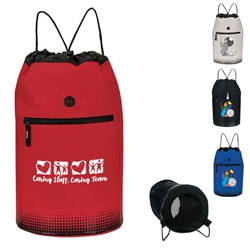 """Caring Staff, Caring Team"" SoundWave Vented Beach & Gym Bag  Beach Bag, Beach Drawtring Tote, Continental Marketing, Care Promotions, Lunch Bag, Insulated, Barrel, Travel, Employee, Nurses, Teachers, Volunteers, Healthcare, Staff Gifts"