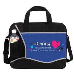 Caring To Make It Better...Today, Tomorrow, Forever! Cross Brief Bag  Canvas, Cross, Expandable, Briefcase, Nursing, Nurses, Healthcare, staff, Messenger, Conference, Brief, Bag, Promotional, Events, All Purpose, Imprinted, Reusable