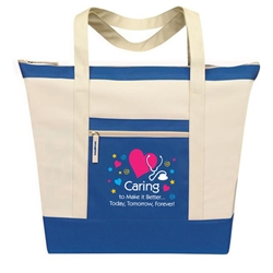 Caring To Make It Better...Today, Tomorrow, Forever! Stock Design Jumbo Zip Tote  All Purpose, Jumbo, Zip, Polyester, nursing, caring, team, healthcare, nurses, recognition, healthcare, Promotional Events, Trade Show Bags, Health Fair, Imprinted, Tote, Reusable, Recognition, Travel