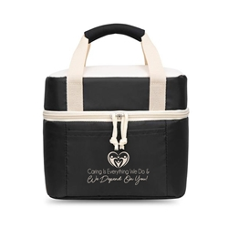 """Caring is Everything We Do & We Depend On You!"" Bento Style Box Cooler Healthcare appreciation, Bento Cooler, Cooler with dish plate, Bento Box Cooler, Imprinted Zip cooler, Bag, Promotional, Imprinted, with name on it, logo, custom bag, gift bag, baby bag, diaper bag, fashion bag"