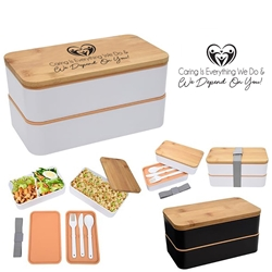 """Caring is Everything We Do & We Depend On You"" Stackable Bento Lunch Set   Healthcare theme, Caring Staff, Nurses, Appreciation, Bento Lunch Container, Stackable, Lunch Dish, Lunch Plate, Lunch Set, Lunch Box, Imprinted, Personalized, Promotional, with name on it, Gift Idea, Giveaway, novelty pen, promotional pen, fidget spinner pen"