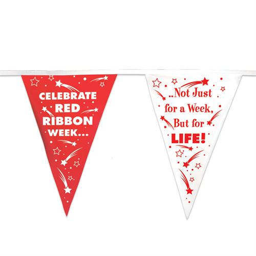 Celebrate Red Ribbon Week Stringed Pennant Banner, 60 red ribbon week, red ribbon week party supplies, red ribbon week decorations, drug prevention, party goods, decorations, banners