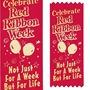 Celebrate Red Ribbon Week Not Just For A Week But For Life Satin Gold Foil-Stamped Self-Stick Ribbons (Pack of 100) red ribbon week, satin ribbon, self stick ribbon, foil stamped ribbon, red ribbon week giveaways, promotional red ribbons, school handouts, drug prevention promotional products