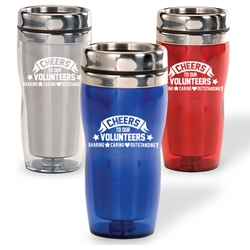 Cheers To Our Volunteers: Sharing, Caring, Outstanding! Curvy Tumbler   Volunteer theme, curvy tumbler, tumbler, beverage holder, travel tumbler, drinkware, sporty, promotional products
