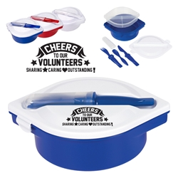 Cheers To Our Volunteers: Sharing, Caring, Outstanding! On The Go Lunch Kit   Multi-Compartment Food Container With Utensils, Nursing Assistants theme, Multi-Compartment, Food Container, with, Utensils, Imprinted, Personalized, Promotional, with name on it, giveaway,