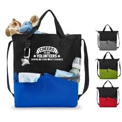 Cheers To Our Volunteers: Sharing, Caring, Outstanding! Synergy All-Purpose Tote All-Purpose Tote, Tote Bag, Everyday Tote, Promotional, Imprinted, with name on it, logo, custom bag, gift bag, baby bag, diaper bag, fashion bag
