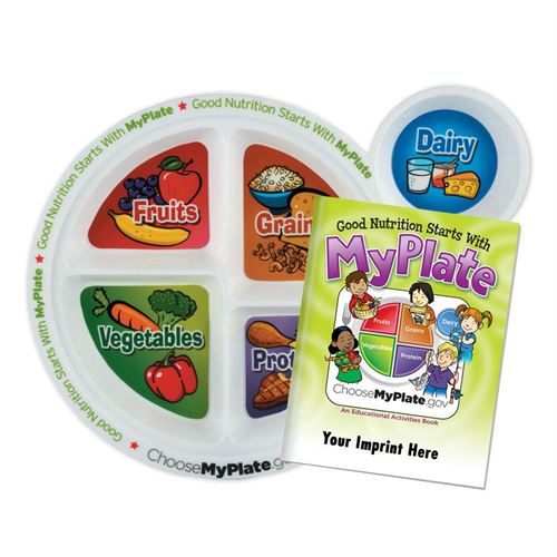 Childs Portion Meal Plate with Custom Educational Activities Book | Care Promotions