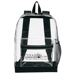 """Clear As Day, You Make A Difference In Every Way!"" Transparent Backpack Employee Appreciation Backpack, Employee Recognition Backpack, promotional backpack, custom logo backpack, custom clear backpack, clear stadium backpack, back to school promotional items, employee appreciation gifts, bags with your logo, business gifts, corporate gifts with logo"