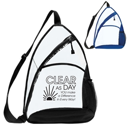 """Clear As Day You Make A Difference In Every Way!"" Transparent Sling Backpack  Employee Appreciation backpack, Employee Recognition backpack, custom clear backpack, clear stadium backpack, back to school promotional items, employee appreciation gifts, bags with your logo, business gifts, corporate gifts with logo"