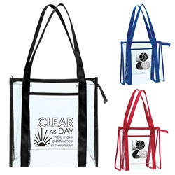 """Clear As Day You Make A Difference In Every Way!"" Transparent Zip Tote  Employee appreciation tote bag, custom logo tote bag, Employee Recognition Clear Tote Bag, custom clear tote bag, clear stadium tote bag, stadium approved promotional items, employee appreciation gifts, bags with your logo, business gifts, corporate gifts with logo"