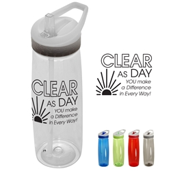 """Clear As Day, You Make A Difference In Every Way!"" 28oz. Tritan Wave Bottle Employee Appreciation Water Bottle, Employee Recognition Water Bottle, promotional drinkware, promotional water bottle, custom logo bottle, custom sports bottle, customized water bottle, employee appreciation gifts, business gifts, employee wellness giveaways"