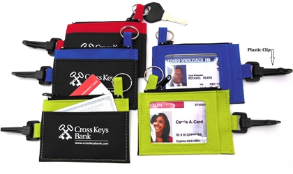 Clip-On ID Holder with Zip Purse Imprinted, ID Holder, Zipper Purse, ID Window, Holder, Custom, With Logo, with Clip,