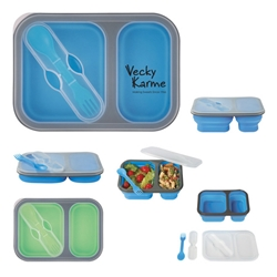 Collapsible 2-Section Food Container With Dual Utensil Collapsible 2-Section Food Container With Dual Utensil, Collapsible, 2-Section, Food Container, Plastic, Imprinted, Personalized, Promotional, with name on it, giveaway,