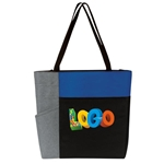 Color Block Pocket Zip Tote