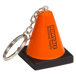 Construction Cone Stress Reliever Key Chain safety promotional items, national safety month gifts, workplace safety awareness, safety incentives, safety reminders, safety awards, safety gifts