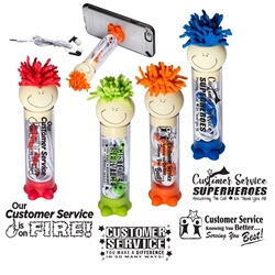 Customer Service Appreciation Theme MopTopper™ Earbud with Stand   Customer Service Theme, ear buds, Service Theme ear buds, ear buds, cell phone stand, tech gifts, promotional phone stand, lego, tech accessories, promotional products, screen cleaner, stylus