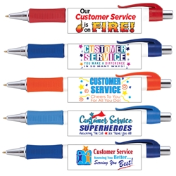 Customer Service Appreciation Vision Grip Pens Assortment Pack ($24.95 for Pack of 25 pens) Customer Service, Appreciation, Theme, Full Color Pen, 4 color process pen, full color grip pen, Vision pen,  Imprinted, Personalized, Promotional, with name on it