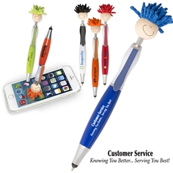 Customer Service: Knowing You Better...Serving You Best! MopTopper™ Stylus Pen   Customer Service Theme, Mop, Topper, Hair, Top, Smile, Pen, Stylus, Screen Cleaner, Pendant Pen, Pendant, Pen, Pens, Ballpoint, Aluminum, Imprinted, Personalized, Promotional, with name on it, giveaway, black ink
