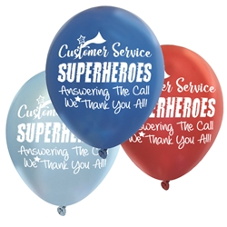"""Customer Service: Superheroes Answering The Call...We Thank You All!"" 11"" Standard Latex Balloons (Pack of 60 assorted)   Customer Service Week, Customer Service, Appreciation, Recognition, Latex balloons, party goods, decorations, celebrations, round shaped balloons, promotional balloons, custom balloons, imprinted balloons"