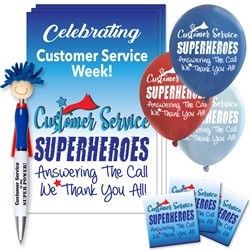 """Customer Service: Superheroes Answering The Call...We Thank You All!"" Celebration Pack  Poster, Buttons, Pens, Cups, Celebration Pack, Customer Service, Week, theme Celebration Pack"