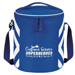 Customer Service: Superheroes Answering The Call, We Thank You All! Geometric Print Accent 12-Pack Round Cooler   Customer Service, Theme, CSRs, CSR, Staff, Geometric, design, Accent, Round, cooler, 12 pack cooler, Promotional, Imprinted, Travel, Custom, Personalized, Bag