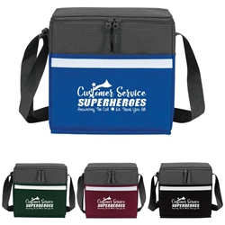 """Customer Service: Superheroes Answering The Call, We Thank You All!"" Two-Tone Accent 12-Pack Cooler   Customer Service, CSR, appreciation, week, recognition, gifts, bags, two tone, cooler, accent, lunch bag, 12 pack cooler, Promotional, Imprinted, Polyester, Travel, Custom, Personalized, Bag"