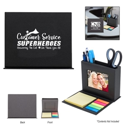 """Customer Service: Superheros Answering The Call, We Thank You All!"" Photo Caddy  Customer Service, Week, CSRs, CSR, Sticky Flag, Sticky Note, Pen, Holder, caddy, organizer, Imprinted, Personalized, Promotional, with name on it, giveaway,"