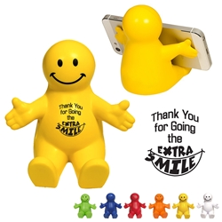 """Customer Service: Thank You For Going The Extra S""Mile"" Happy Dude Mobile Device Holder Customer Service Week theme phone holder, Smiley face Phone Holder, CSR theme fun desk items, CSR theme Desk gifts, Customer Service theme desk gifts, CSR theme phone holder, Customer Service theme stress ball, Appreciation Theme, Recognition theme, promotional cell phone stand, promotional stress reliever, custom logo stress relievers, custom logo phone stand, employee appreciation gifts, trade show giveaways"