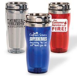Customer Service Theme Curvy Tumblers  customer service theme, curvy tumbler, tumbler, beverage holder, travel tumbler, drinkware, sporty, promotional products