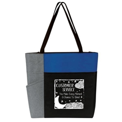 """Customer Service: You Make Every Moment A Chance To Shine"" Color Block Pocket Zip Tote   Customer Service, CSR, Theme, tote, Member Service, Appreciation Tote, Customer Service Theme, , Recognition, Color, block, Zip, Multi-Function, Luggage Loop Tote Bag, tote, Imprinted, Travel, Custom, Personalized, Bag"