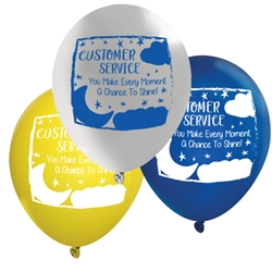 """Customer Service: You Make Every Moment A Chance to Shine!"" 11"" inch Crystal Latex Balloons (Pack of 60 assorted)   Customer Service, Theme, Customer Service Week, Balloons, Party, Decorations, theme, Customer Service, CSRs, Week, National, Theme, Latex balloons, party goods, decorations, celebrations, round shaped balloons, promotional balloons, custom balloons, imprinted balloons"