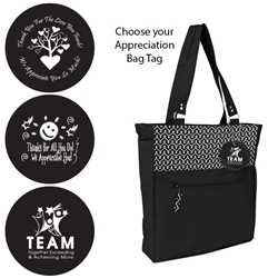 Dallas Tote with Appreciation Bag Tag (Black Chevron)