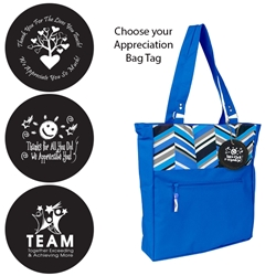 Dallas Tote with Appreciation Bag Tag (Blue Herringbone)